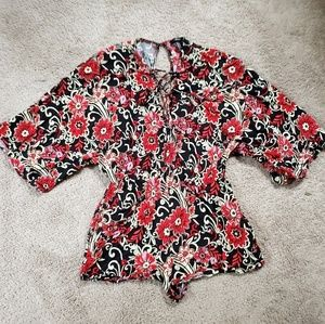 Red Floral Lace Up Romper
